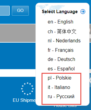 New language options